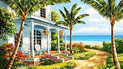 Diamond Painting By Number Kit Completo Bordado,Craft DecoracióN Mural De Diamantes, Pintura De Diamantes Punto De Cruz,Playa,16X24inch
