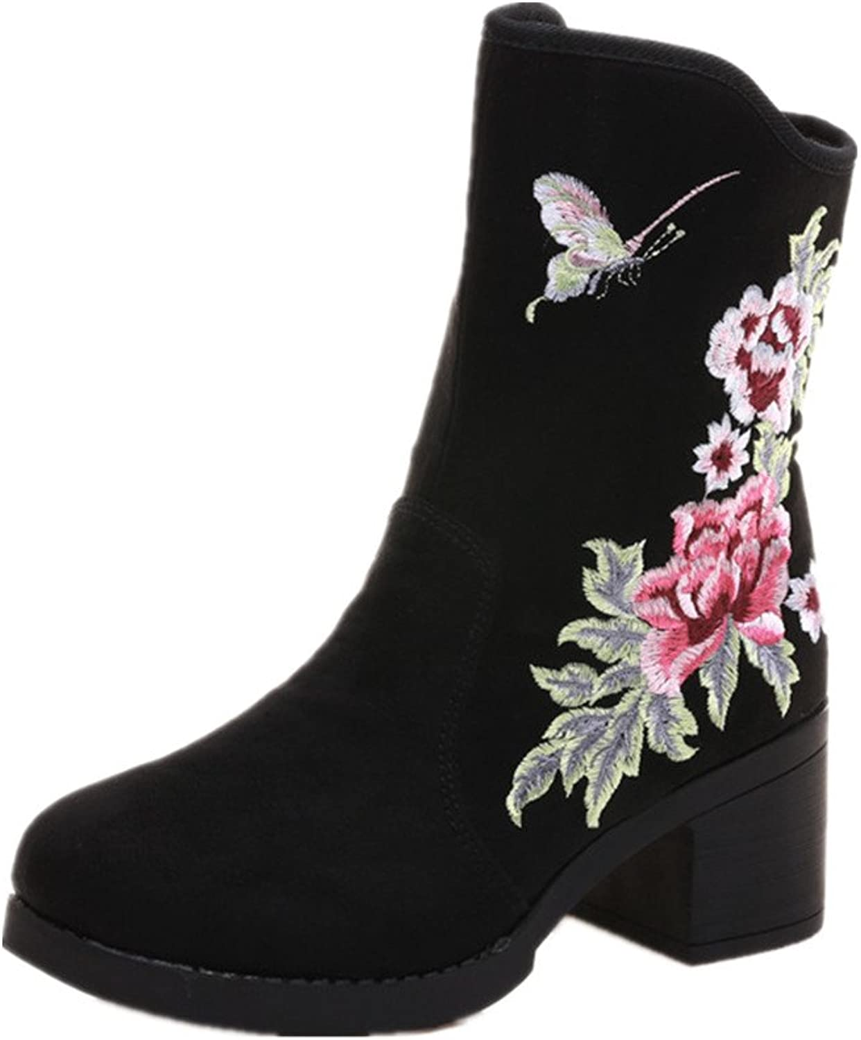 Tianrui Crown Women and Ladies The Butterfly Embroidery Short Boots shoes