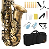 Eastar Alto Saxophone Antique Finish Bronze Vintage Sax Eb E-flat Student Beginner Full Kit with Carrying Case Mouthpiece Straps Reeds Stand Cork Grease Cleaning Brush, AS-Ⅱ-Ab