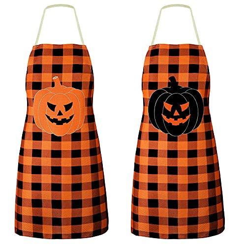 2 Pieces Halloween Pumpkin Apron Pumpkin Kitchen Aprons Halloween Cooking Kitchen Apron Buffalo Check Funny Baking Apron for Women Men Kitchen Cooking Chef Grill Baking, Orange and Black