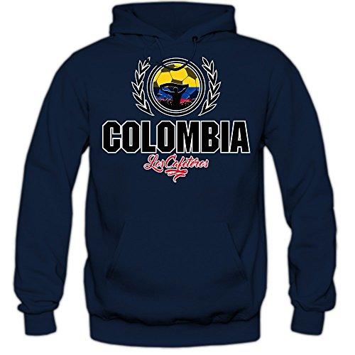 Shirt Happenz Fútbol Colombia V2 Sudadera con Capucha   Hombre   Fútbol   Equipo Nacional   Selección Nacional   Colombia   Los Cafeteros   Hoody, Couleur:Dunkelblau (Navy F421);Taille:Small