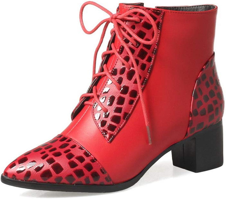 BalaMasa Womens Hounds-Tooth Boots Fashion Urethane Boots ABL11792