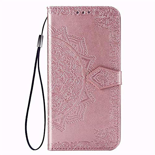 YGGY Mandala Embossed Wallet Leather Flip Phone Case For iPhone 11 Pro MAX XR XS MAX X 8 Plus 8 7 Plus 7 6 Plus 6 Card Holder Stand Case Cover,Rose Gold,iPhone 8