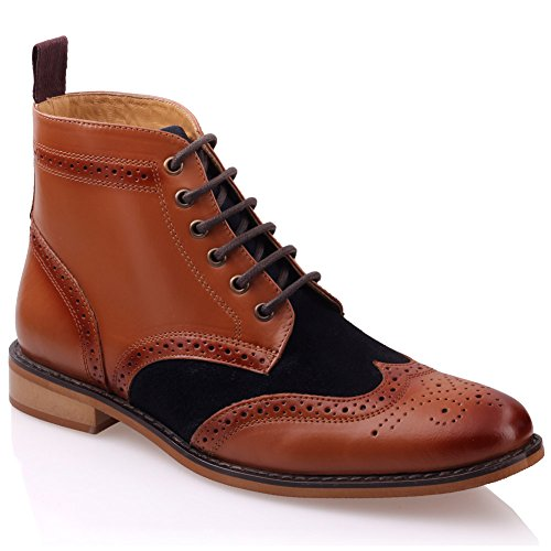 Unze Mens 'Bourne' Leather Boots Smart Formal Brogue Combat Lace Ankle Boots Shoes UK Size 6-12 – G00487