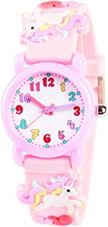 Venhoo Kids Watches 3D Cute Cartoon Waterproof Silicone Children Toddler Wrist Watch Time Teacher Birthday Unicorn Gifts for 3 4 5 6 7 8 9 Year Girls Little Child-Pink