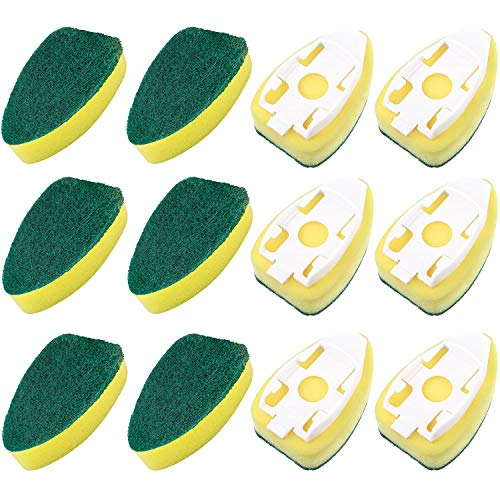 Boao 12 Pack Dish Wand Refills Sponge Heads Brush Replacement Sponge Refill Sponge Pads for Kitchen Room Cleaning Supplies