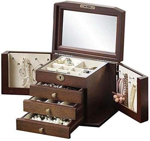 Caja de madera hecha a mano con llave oculta y ext Caja de joyería de madera grande, madera de joyería de madera grande de madera dura Organizador con espejo y anillo de cerradura regalo de collar de