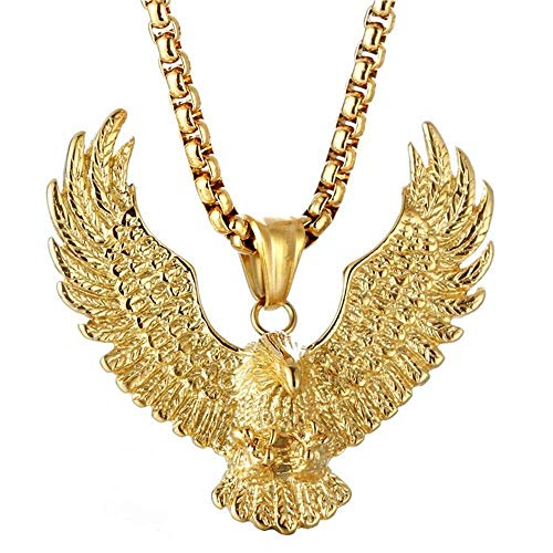 Rockyu ネックレス メンズ クロムハーツ 鷹 鷲 イーグルネックレス ゴールド ステンレス チタン 羽根 リアル 復古 (Gold)