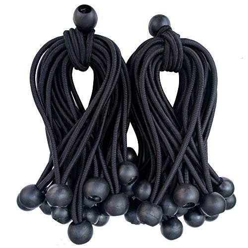 Joneaz Bungee Balls 6 Inch,Black Bungee Cord for Canopy Tarp,0.8 Inch Ball, UV Resistant,50-Piece