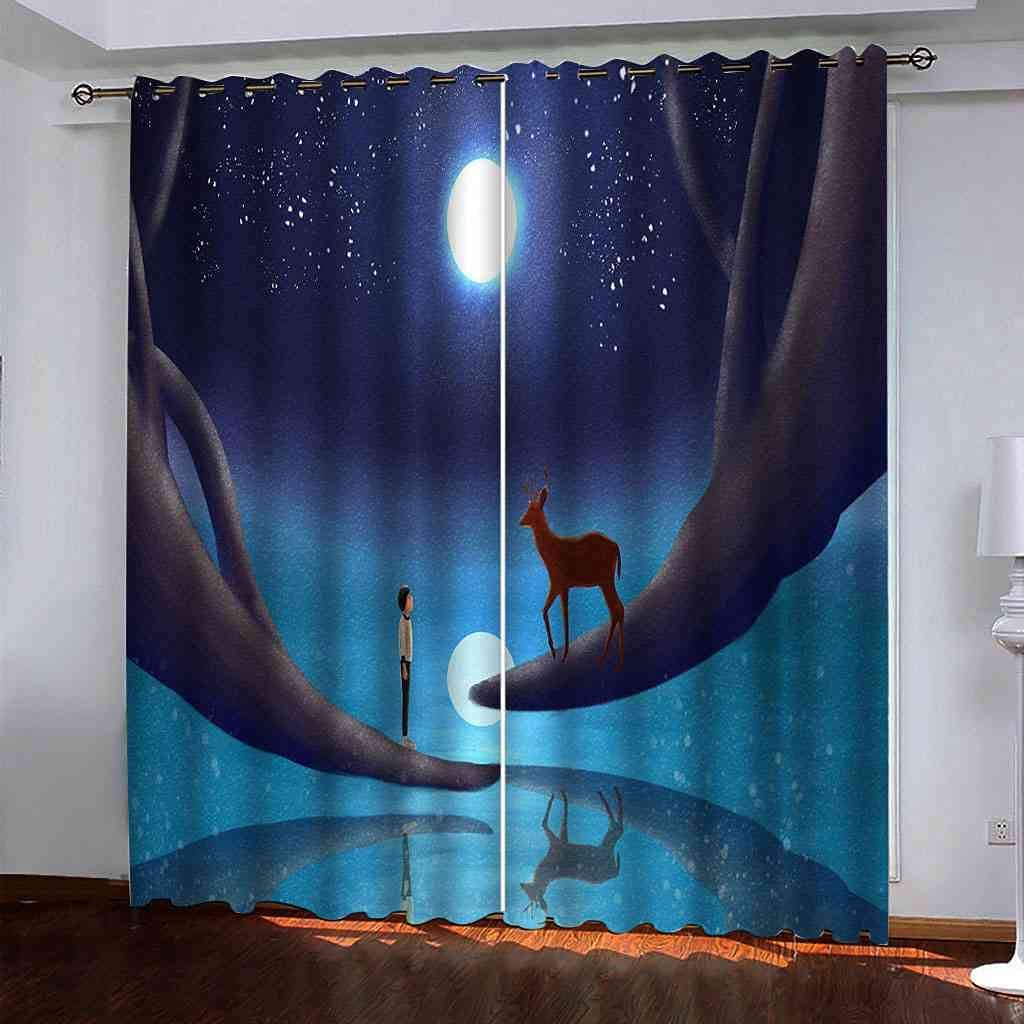 RIFTWP Window Drapes for Bedroom Room 5 ☆ very popular 3D Printed Max 81% OFF Blackout Living