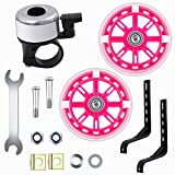 URATOT Bicycle Stabiliser Mounted Kit Bike Training Wheels Flash Mute Wheel Bicycle Training Wheels Adjustable Bicycles Stabilizer and Car Bell Wrench for Children Bikes of 12, 14, 16, 18, 20 Inch