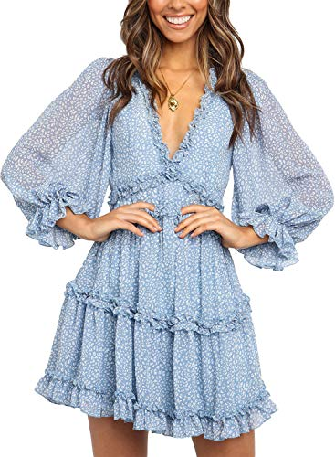 Dokotoo Womens Casual Spring Summer Deep V Neck Long Sleeve Print Short Mini Dress Skater A Line Dresses