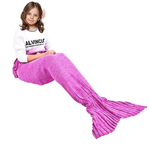 eCrazyBaby Hecho a Mano de Punto Manta de Cola de Sirena Todas Las Estaciones cálido sofá Cama Sala de Estar Manta para niño, Patrón clásico con Encaje, 140 x 70cm, Rosa Oscuro