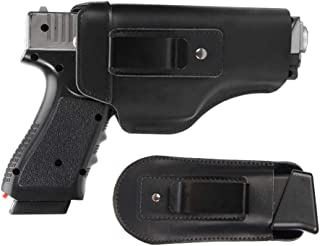 Tenako Defender Leather IWB Holster for S&W M&P Shield - Glock 17 19 22 23 32 33 / Springfield XD & XDS Multi Use Soft Pouch for Pistol Inside The Waistband Small, Medium, Large Single Double Stack