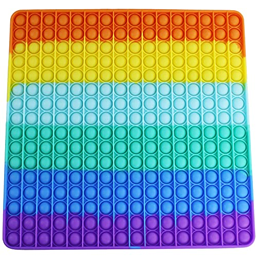 Vovomay Big Push Pop Bubble Fidget Sensory Toy Rainbow Oversize Autism Popping Sensory Toy Anxiety Stress Relieves Tools for All Ages (Outsize Square 256 Bubbles)