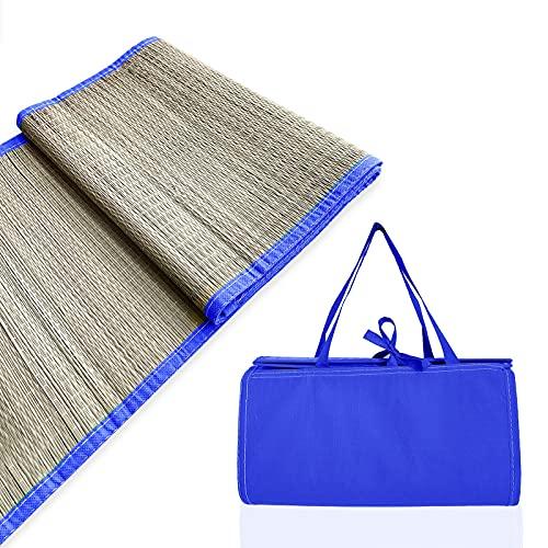 Alfombra de Playa Esterilla Playa, Manta de Picnic de 180x60cm con asa de Transporte y Compartimento para Guardar Libro, Gafas de Sol, Crema Solar, Ideal para Playa, Piscina o Jardin (Azul)