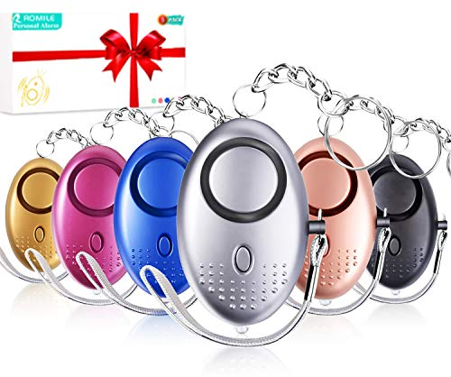 ROMILE Safe Sound Personal Alarm - 6 Pack?Siren Song? 140DB Reusable Security Alarms Keychain with LED Light, Emergency Safety Alarm for Women Girls Kids and Elderly