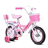 GLJJQMY Bicicletas for niños Bicicletas for niñas de 14 Pulgadas Bicicletas de Acero con Alto Contenido de Carbono for niños, niñas y niños de 3-5 años, Rosa/púrpura/Azul