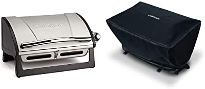 Cuisinart CGG-059 Propane, Grillster 8,000 BTU Portable Gas Grill & CGC-21 All-Foods Gas Grill Cover , Black