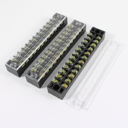 sourcingmap® 3Pcs 600V 15A 12Positions Dual Rows Covered Barrier Schraub Klemmblock Streifen de