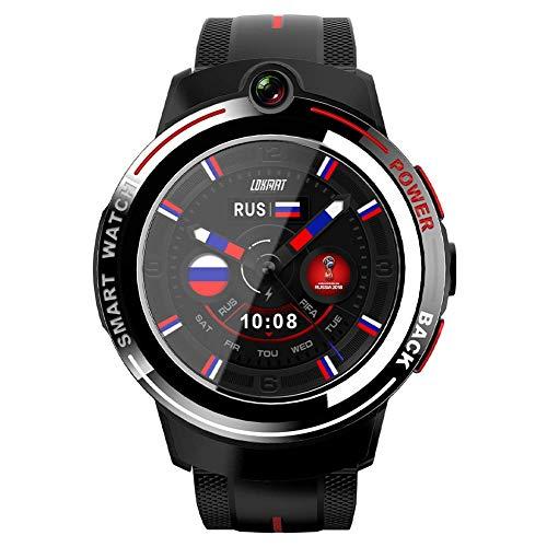 YLKCU Reloj Inteligente 4G IP67 Reloj de Pulsera con Pantalla táctil Bluetooth a Prueba de Agua con frecuencia cardíaca, GPS, SOS, videollamada, Alarma, cámara, podómetro, Relojes Deport