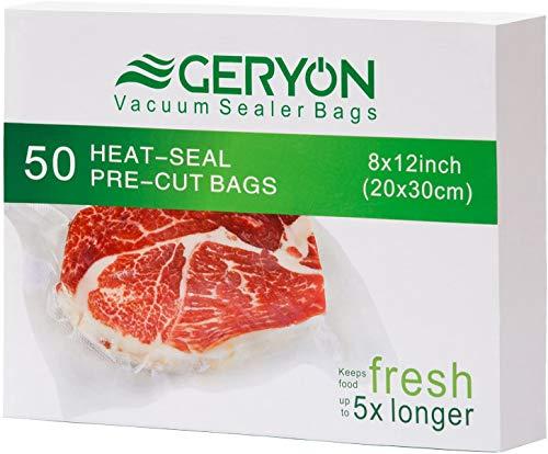 GERYON Bolsas de envasado al vacío, precortadas, sellador de alimentos, tamaño 20 x 30 cm, para Food Saver & Sous Vide Cooking, 50 Count