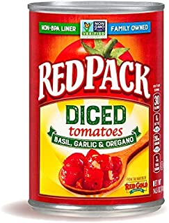 Redpack Diced Tomatoes with Basil, Garlic & Oregano, 14.5oz Can (Pack of 12)