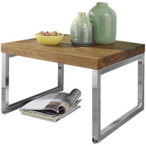 Wohnling Beistelltisch GUNA Massiv-Holz Sheesham Wohnzimmer-Tisch mit Metallgestell Landhaus-Stil Couchtisch Natur-Produkt Wohnzimmermöbel Unikat modern Massivholzmöbel Anstelltisch dunkelbraun
