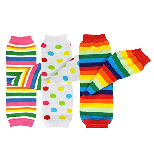 allydrew 3 Pack Leg Warmers in Various Styles for Babies and Toddlers, Rainbow Stripes & Dots