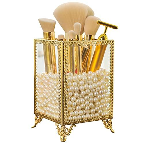HPGZ Soporte para Pinceles de Maquillaje, Cubo de Cepillo de Vidrio Dorado, Caja de Almacenamiento de Brochas de Maquillaje, Almacenamiento de Escritorio de Pincel de Maquillaje