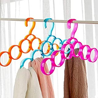 Lukzer (3 Pc) Ring Hanger (Random Colour) / 6 Ring Shape Single Line Hanger for Scarfs/Scarf Hanger Ring Shape/Round Shape Scarf Hanger
