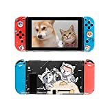 FANPL Clear Case for Nintendo Switch, TPU Silicone Soft Cute Protective Cover for Switch and Joy Con Controller with 2 Cat and Dog Thumb Grips (Starry Sky)