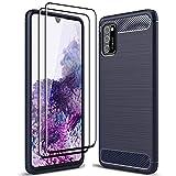 ALAMO Funda Ultra de Silicona para el Samsung Galaxy A02s, Carcasa Fibra de Antigolpes Bumper [con 2 Pack Protector de Vidrio Templado para Pantalla ] - Azul