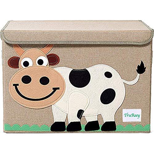 Spielzeugtruhe für Kinder mit Deckel, faltbar, 36 x 52 x 35 cm, 65 l (Kuh)