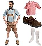 Herren Trachten Set B 5-teilig Trachten Lederhose * kurz * Hellbraun 46-60 Trachtenhemd Schuhe Socken Oktoberfest
