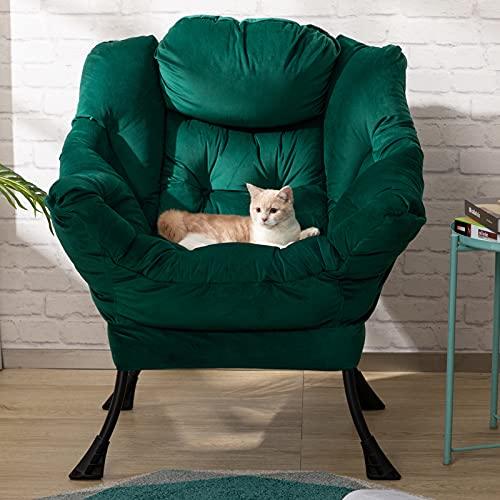 HollyHOME Sillón Relax Silla, Perezosa Sillon Relax con Reposabrazos y Tela de Terciopelo, Sillón Sofá con Estructura de Acero, Verde
