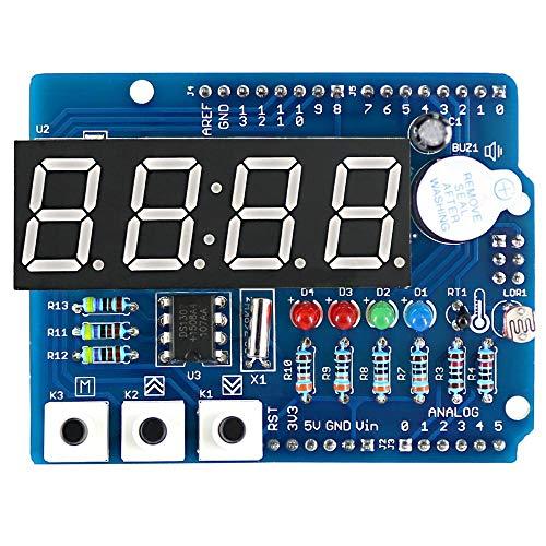 LTH-GD Relais Escudo de Reloj RTC DS1307 Tablero de expansión multifunción del módulo con Sensor y termistor abstemioso de Pantalla de 4 dígitos Interruptor de relé WiFi