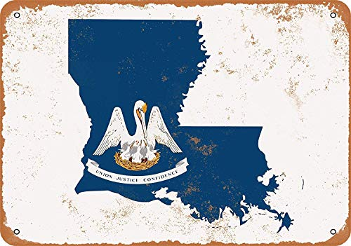 POUDBDH Vintage Look Louisiana State Flag Design 8 X 12 Inches Wall Metal Sign