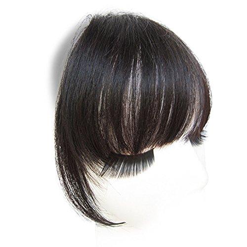 Remeehi Echthaar Clip-in-Pony, Haar-Verlängerung glattes Pony-Haarteil für Damen