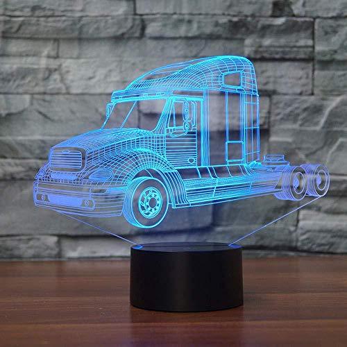 3D Illusion LED Night LightTruck tractor car7 Variaciones de color Gradientes Placa de acrílico Lámpara de escritorio Decoración de dormitorio-7 color touch