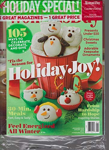 WOMAN'S DAY, GOOD HOUSEKEEPING & COUNTRY LIVING JAN 2019,3 MAGAZINES FOR 1 PRICE