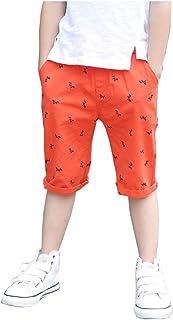 FEVON ショートパンツ 子供服 男の子 夏 綿麻 ハーフパンツ カジュアル 可愛い馬のプリント キッズパンツ ボーイズ 短パン 半ズボン 半パン ウェストゴム 通気性よい かっこいい