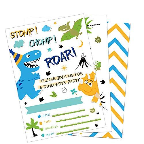 WERNNSAI Invitaciones Cumpleaños del Dinosaurio - 20 Piezas Tarjetas de Invitación con 20 Piezas Sobres Artículos de Fiesta Dinosaurio para Chicos Cumpleaños Baby Shower