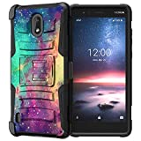 Compatible with Nokia 3.1C / Nokia 3.1A | Holster Belt Clip Swivel Rugged Hybrid Dual Layer Kickstand Case by Untouchble - Galaxy
