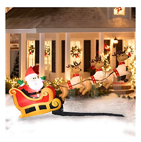 10 Ft Wide Santas Sleigh Taking Off Airblown Inflatable with 3 Reindeer Christmas Lawn Yard Decoration