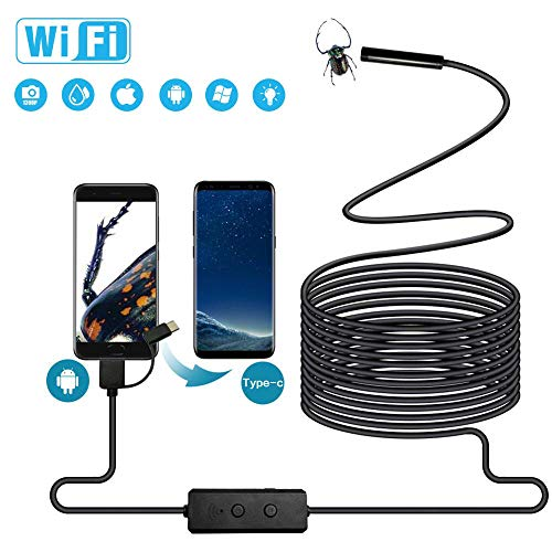 Wireless Endoscope HD WiFi Inspection Camera Tsuperb with Mini 8 LED Light 1200P Ultra High Definition Semi-Rigid Flexible Waterproof Borescope for Android and iOS Smartphone 11.5ft 3.5m iPad