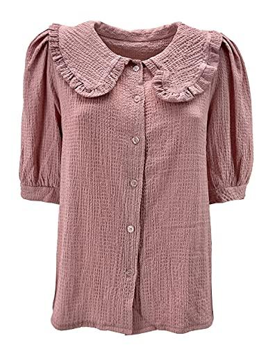JOPHY & CO. Blusa Túnica tipo blusa de mujer de manga corta con cuello ancho de hoja de loto y cierre con botones (cód. 6202) Rosa Talla única