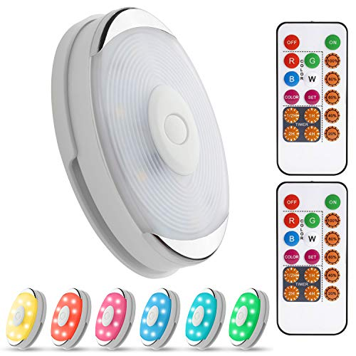Dimmable Closet Light Puck Lights with Remote Under Cabinet Lighting Wireless Battery Operated Led Puck Lights RGB Color Changing Stick on Lights 16 Colors Night Light(6 Pack )