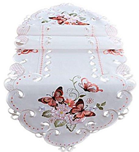 Raebel OHG Apolda Tischdecke 40x140 cm Oval Sekt Schmetterlinge Rot Bunt Gestickt Tischläufer Aufleger Frühling Sommer (40 x 140 cm)