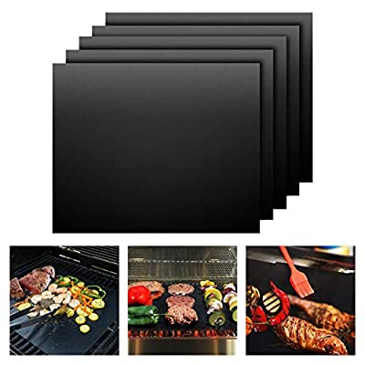 COOZYER BBQ Grill Mats Non Stick Grill Mat Set of 5 Pack Reusable BBQ Grill Baking Mats Easy to Clean Barbecue Grill Mats Work on Gas Charcoal Electric Grill, Black